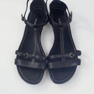 Ecco T Strap Black Leather Strappy Sandals, SZ 42